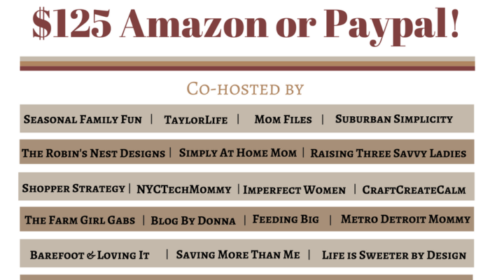 $125 Amazon Gift Card or Paypal Cash Giveaway