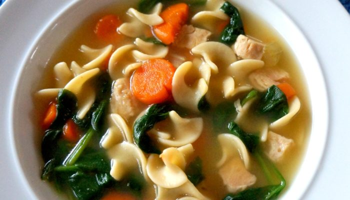 Progresso Chicken Noodle Soup with Spinach and Rice Cake Croutons