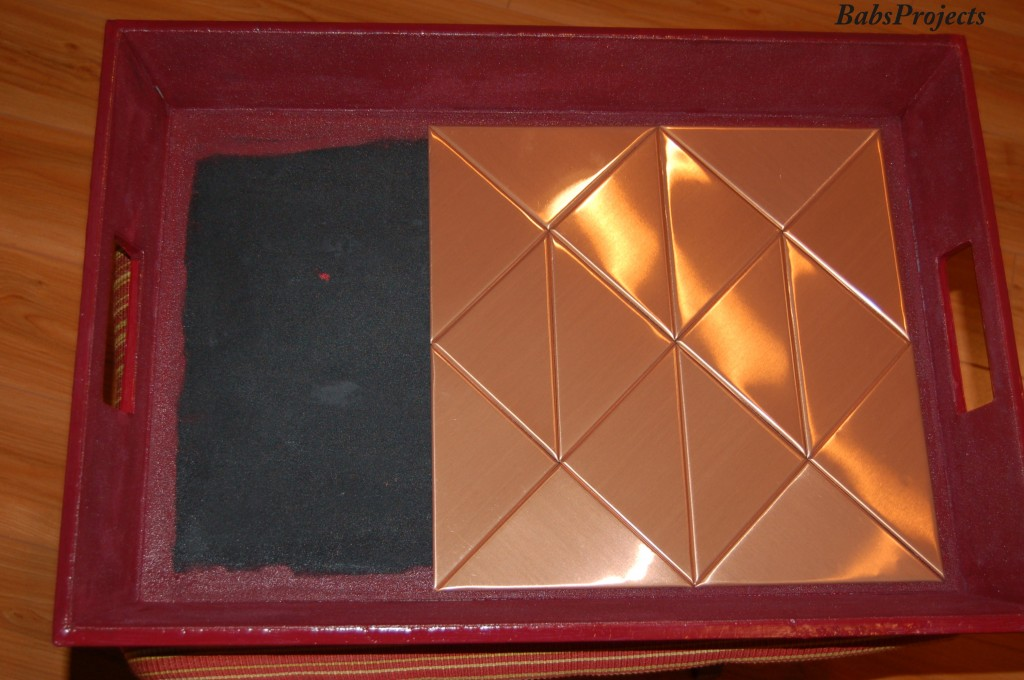 """Copper Tiled Wooden Tray"""