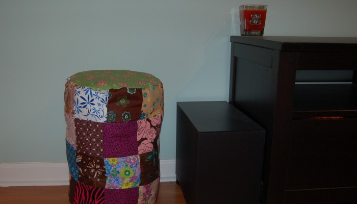 How to Make a Storage Ottoman with Leftover Scraps of Fabric