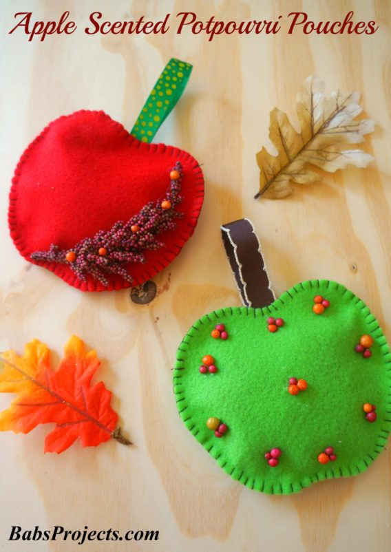 Apple Scented Potpourri Pouches DIY with Felt