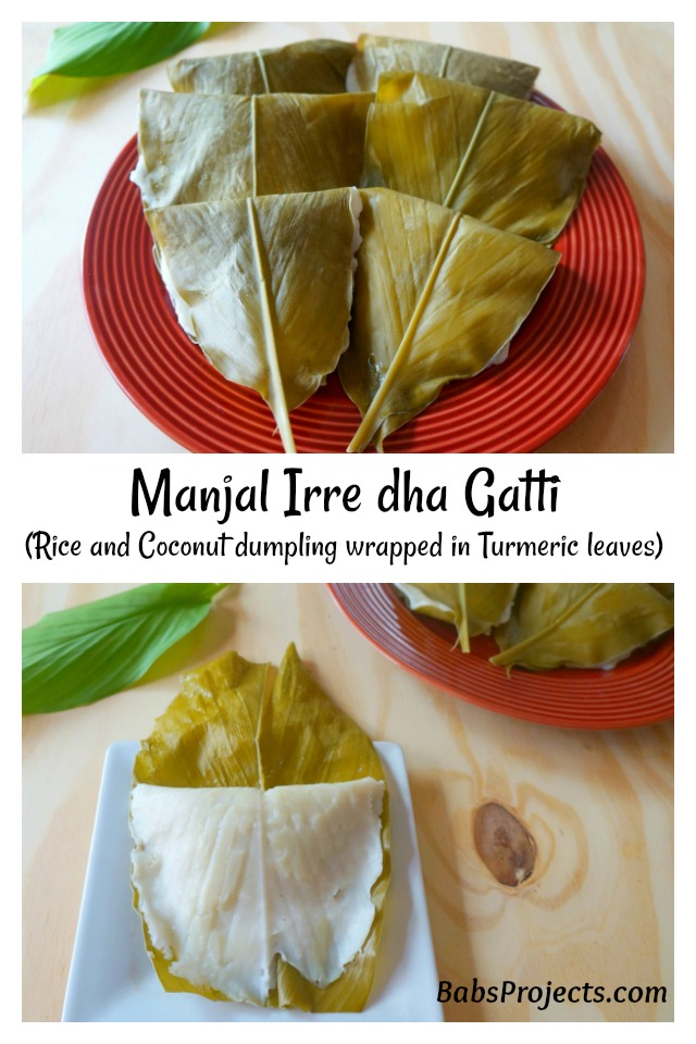 Manjal Irre dha Gatti - Rice and Sweet Coconut Steamed Dumpling Wrapped in Turmeric Leaves