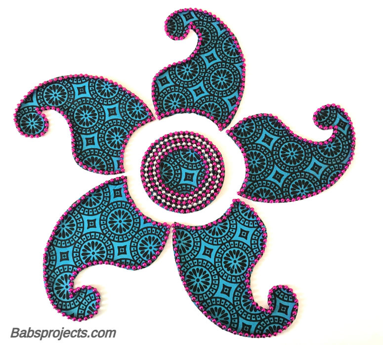 Blue Paisley Fabric Kundan Rangoli made with Old Dupattas for Diwali