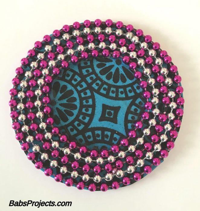 Blue Circular Fabric Kundan Rangoli