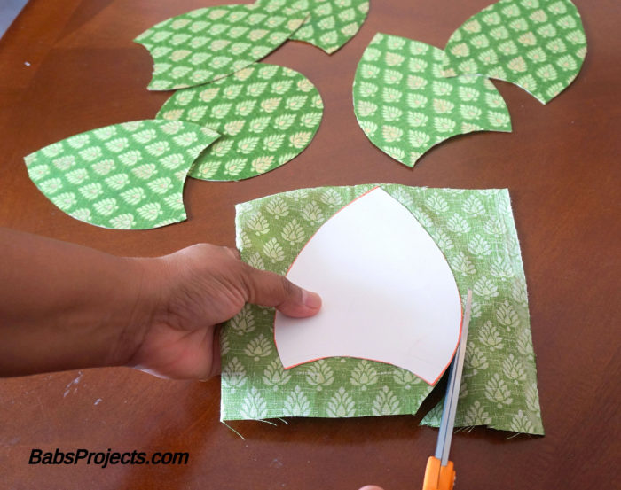 Cut Outs of Leaf Pattern for Green Fabric Kundan Rangoli
