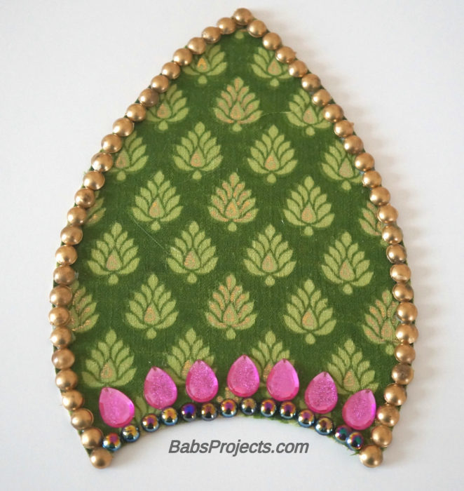 Embellished with Gems - Green Leaf Fabric Kundan Rangoli